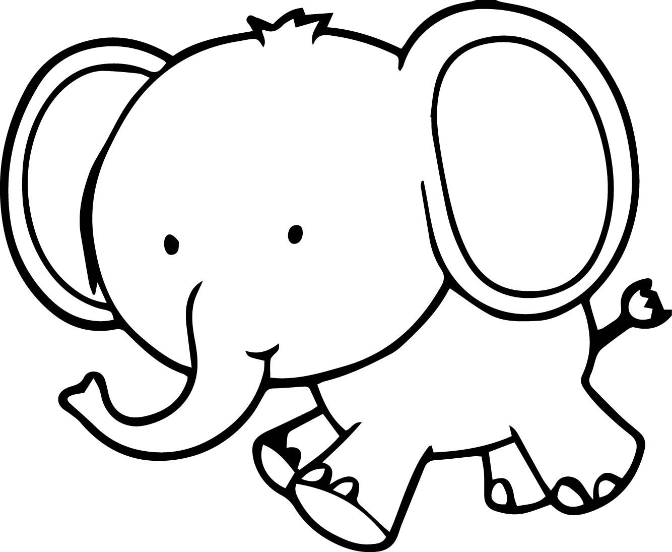 Cool Very Cute Small Elephant Coloring Page
