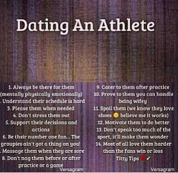 Dating professional athlete advice quotes