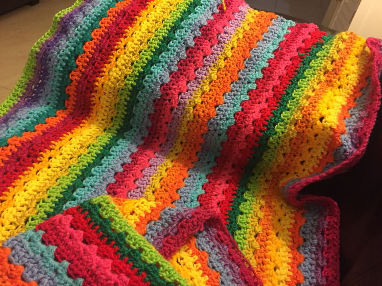 My newest project around 1/2 completed. Attic 24's Cosy Blanket! I am addicted to the colours and simple pattern. Currently measuring 180cm by  around 1metre! #crochet #colour #attic24