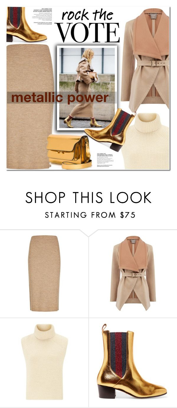 """""""Metallic power"""" by nanawidia ❤ liked on Polyvore featuring Winser London, Oasis, Étoile Isabel Marant, Gucci, Marni, metallic, polyvoreeditorial, polyvorecontest and rockthevote"""