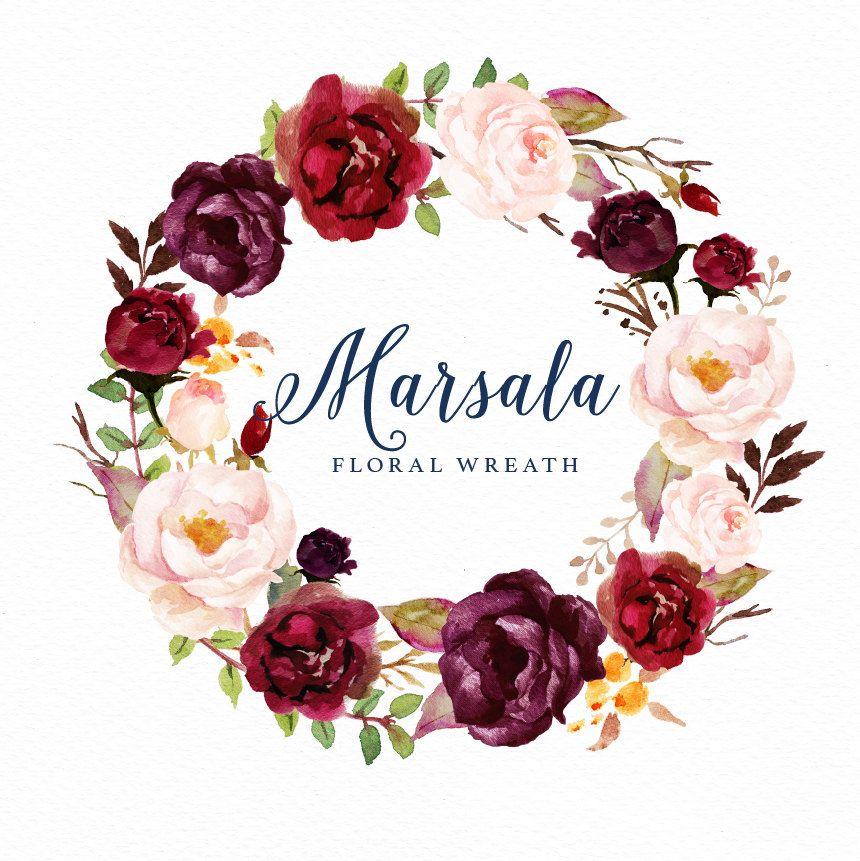 Watercolor floral wreath-Marsala/Small Set/Individ