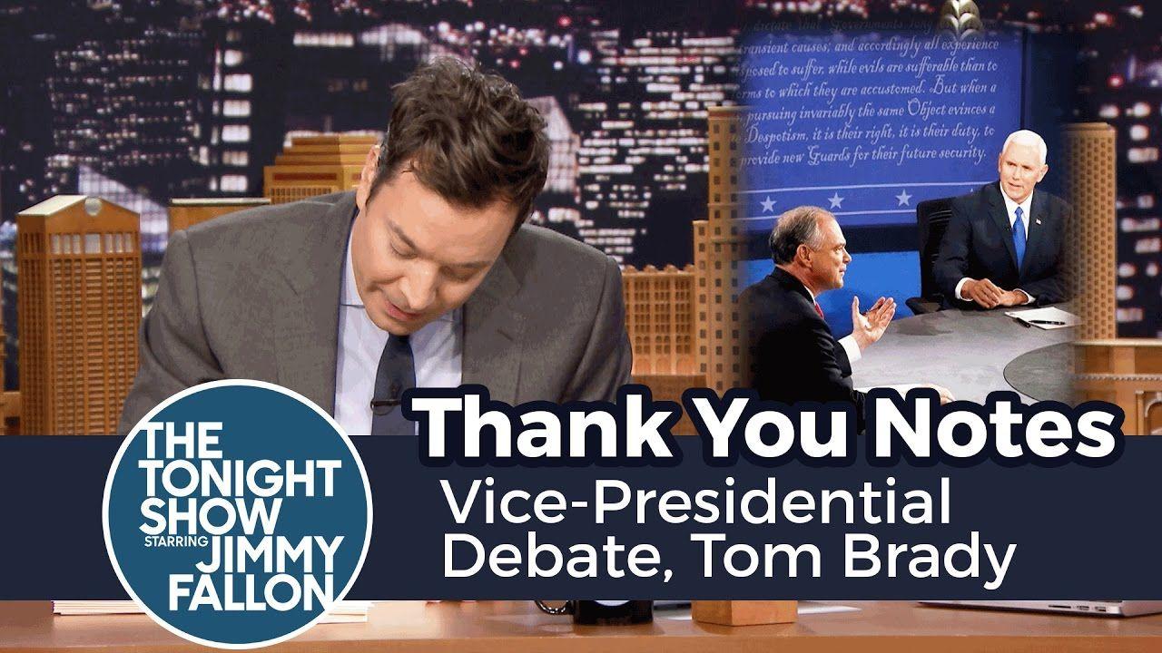 Thank You Notes: Vice-Presidential Debate, Tom Brady