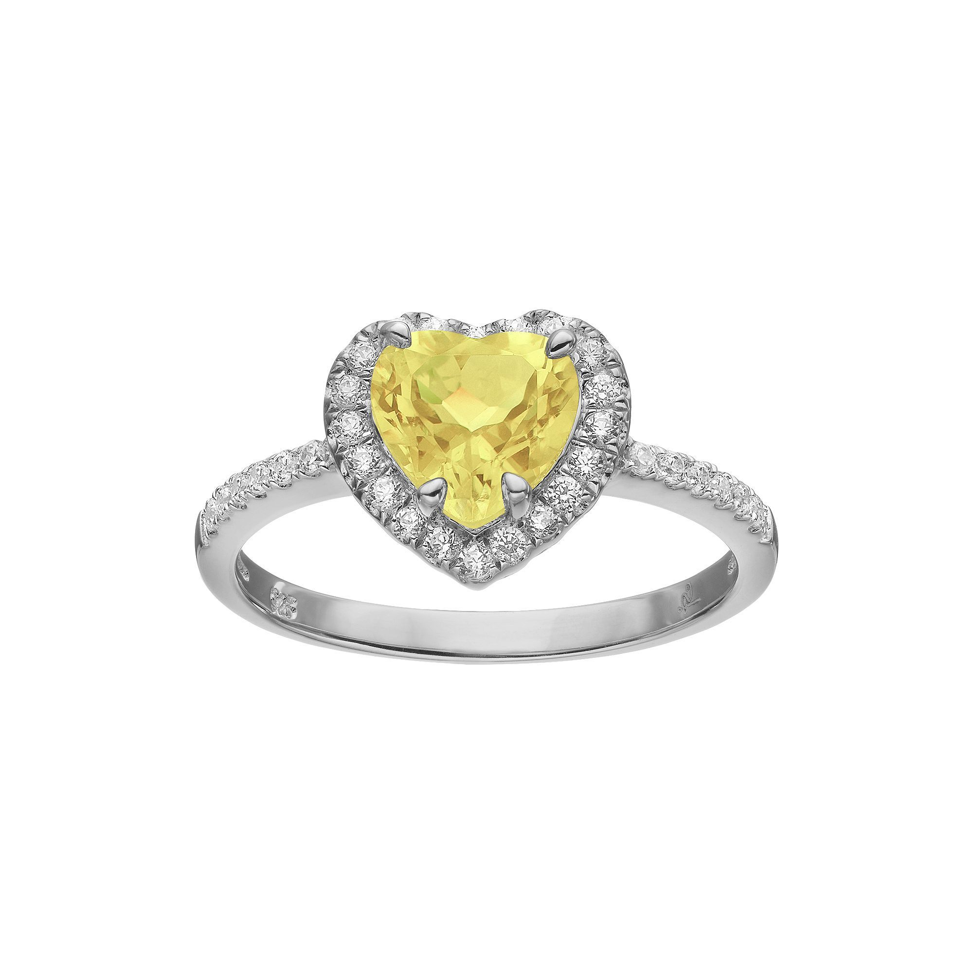 Rebecca Sloane Citrine Cubic Zirconia Platinum Over Silver Heart Halo Ring Halo Engagement Rings Wedding Ring Designs Beautiful Wedding Rings