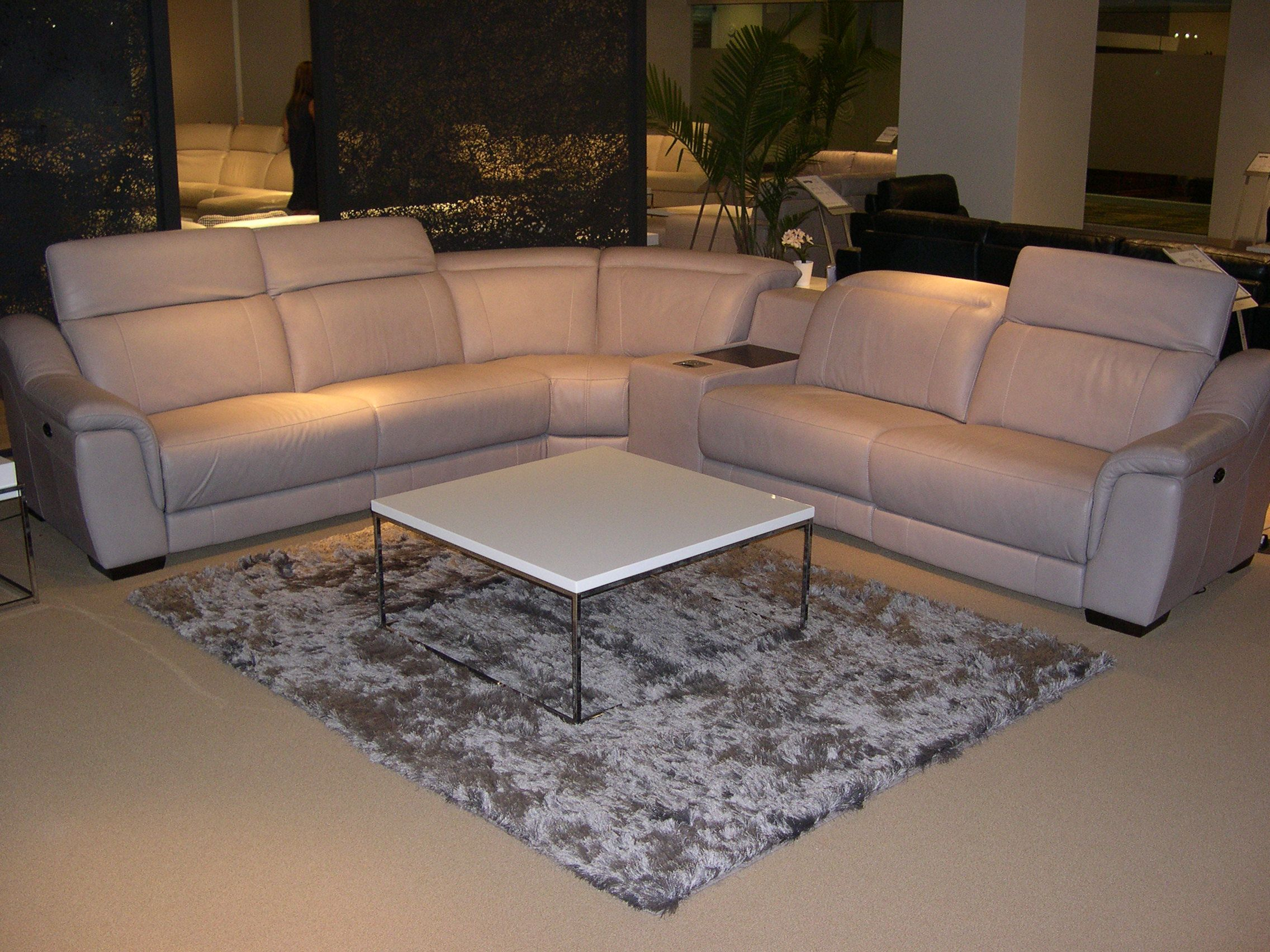 HTL Leather Sectional - Adjustable headrests. Note the built-in media console. : built in sectional - Sectionals, Sofas & Couches