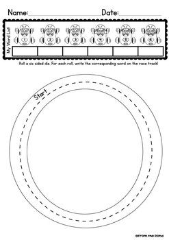 Roll and Race ANY Spelling List Worksheet