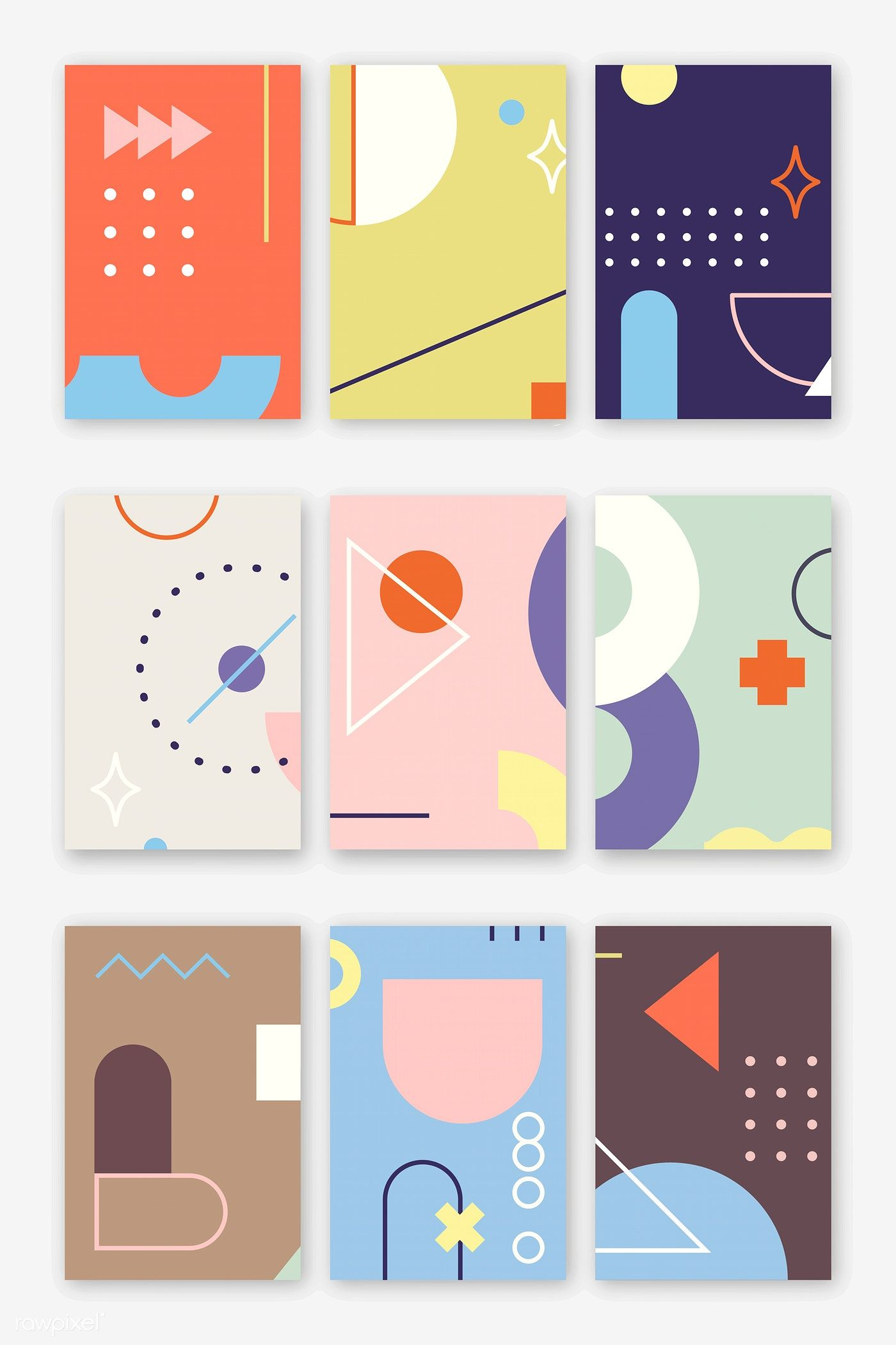 Geometric patterned banners collection vector | premium image by rawpixel.com / katie