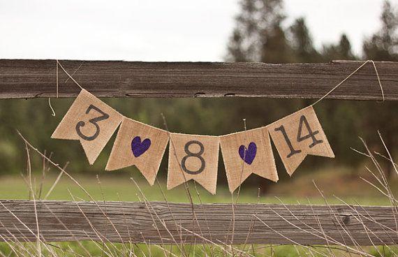 Save The Date Burlap Wedding Banner Photo Prop Custom Color Glitter