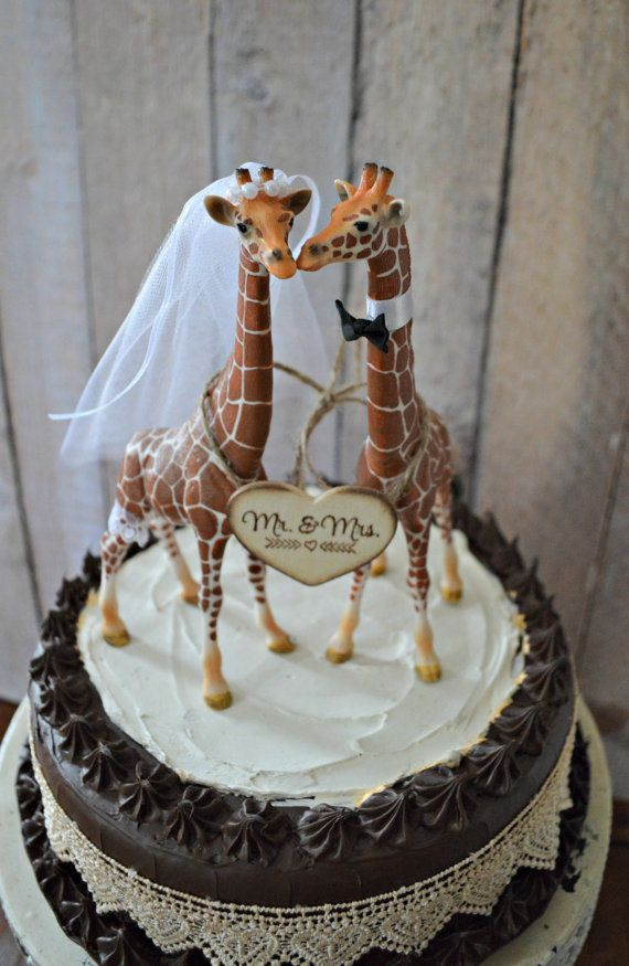 Giraffe Wedding Cake Topper Zoo Jungle Theme Mr Mrs Wood Sign Bride And Groom Kissing Animal Decorated