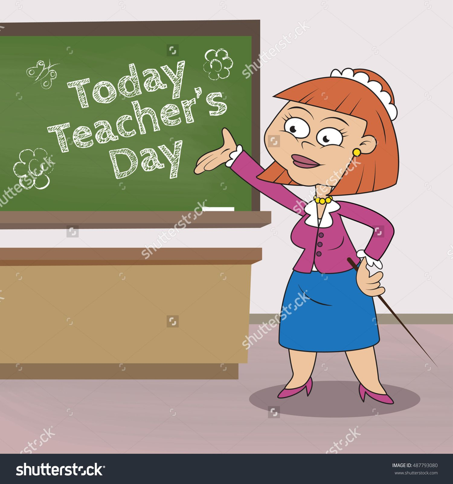 Female teacher with pointer stands near the chalkboard