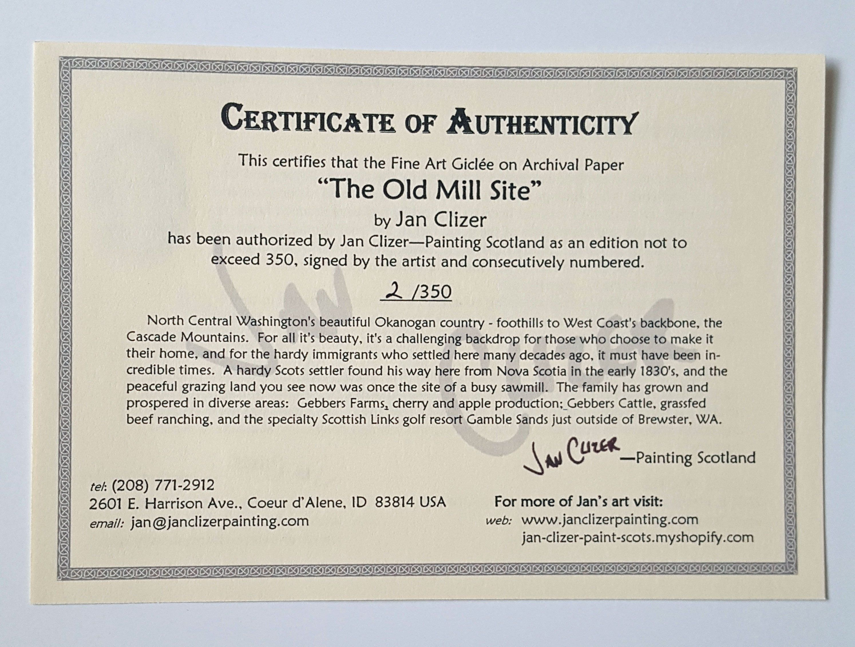 Sample Certificate of Authenticity | JAN CLIZER - PRINTS!