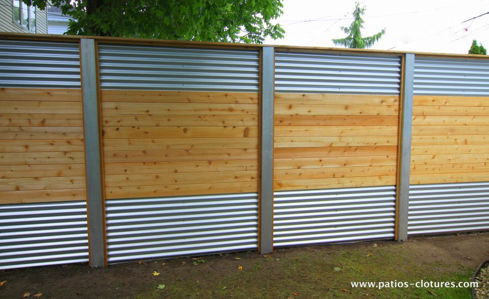 Hybrid fence with galvanized steel, aluminum and cedar Lecompte 2