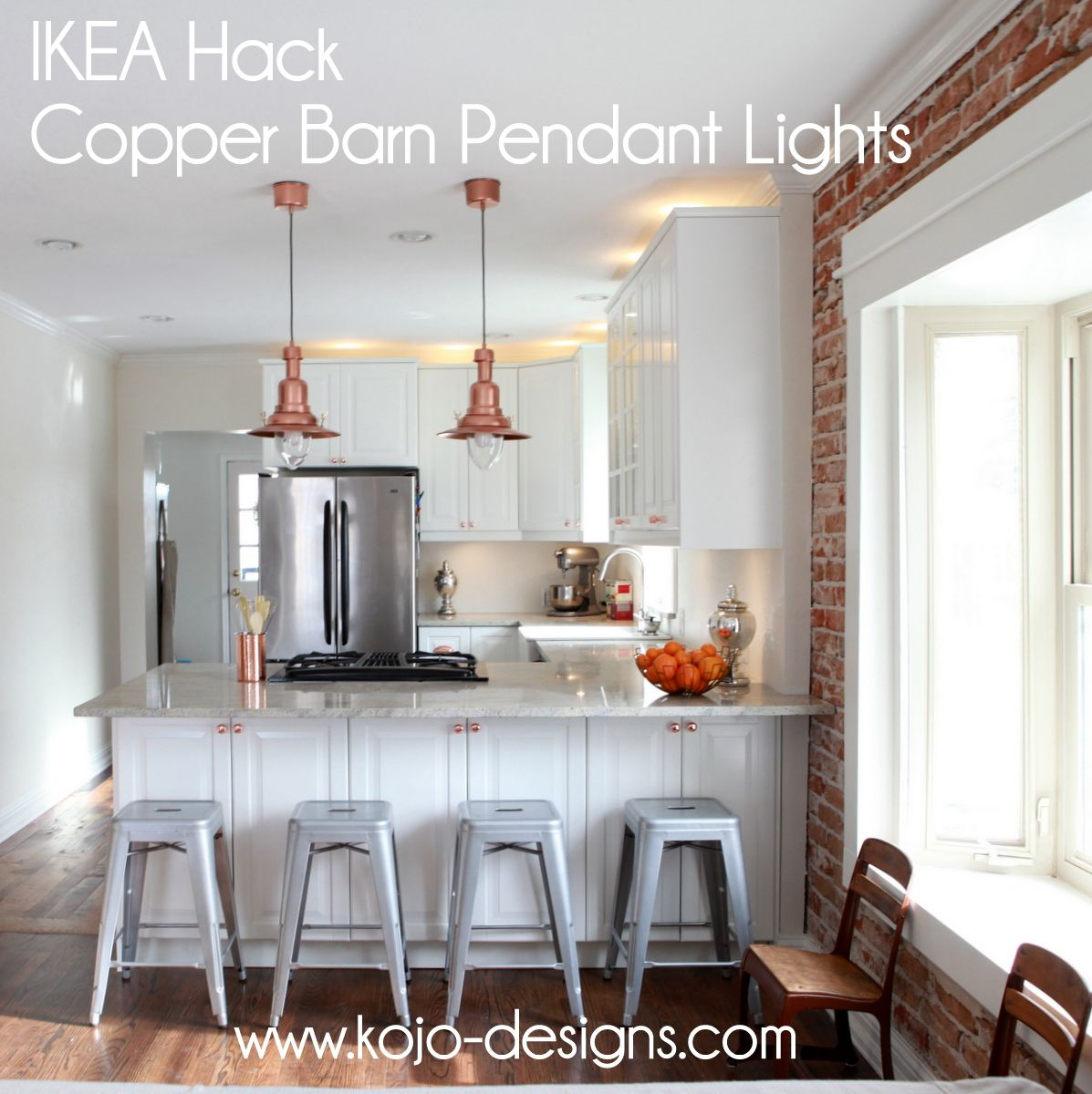 IKEA hack- how to turn an OTTAVA light into a copper barn pendant light. Not a fan of the shiny copper, but I love the light and the idea to hack it by spray painting it!