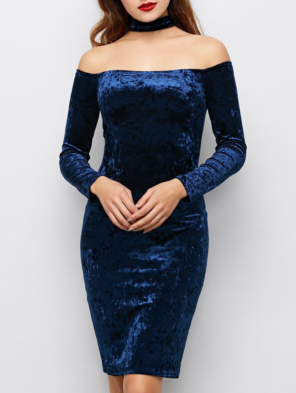 long sleeve velvet choker dress blue s fashion
