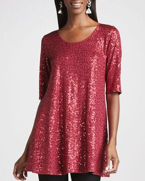 56931e44839 Eileen Fisher Long Sequined Tunic, Women's on shopstyle.com | Plus ...