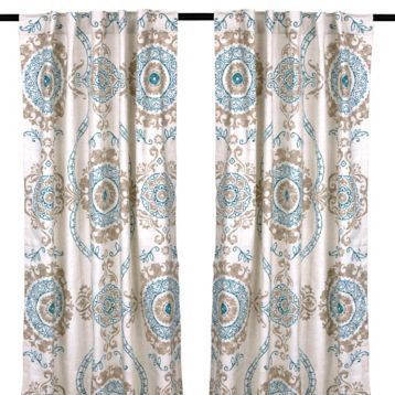 Aqua Loretta Curtain Panel Set, 84 In