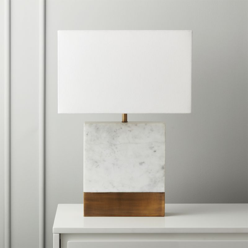 Shop Estuary White Marble And Brass Table Lamp Antiqued Brass Plate Edges Up Rectangular Marble Table La Marble Table Lamp Modern Table Lamp Brass Table Lamps