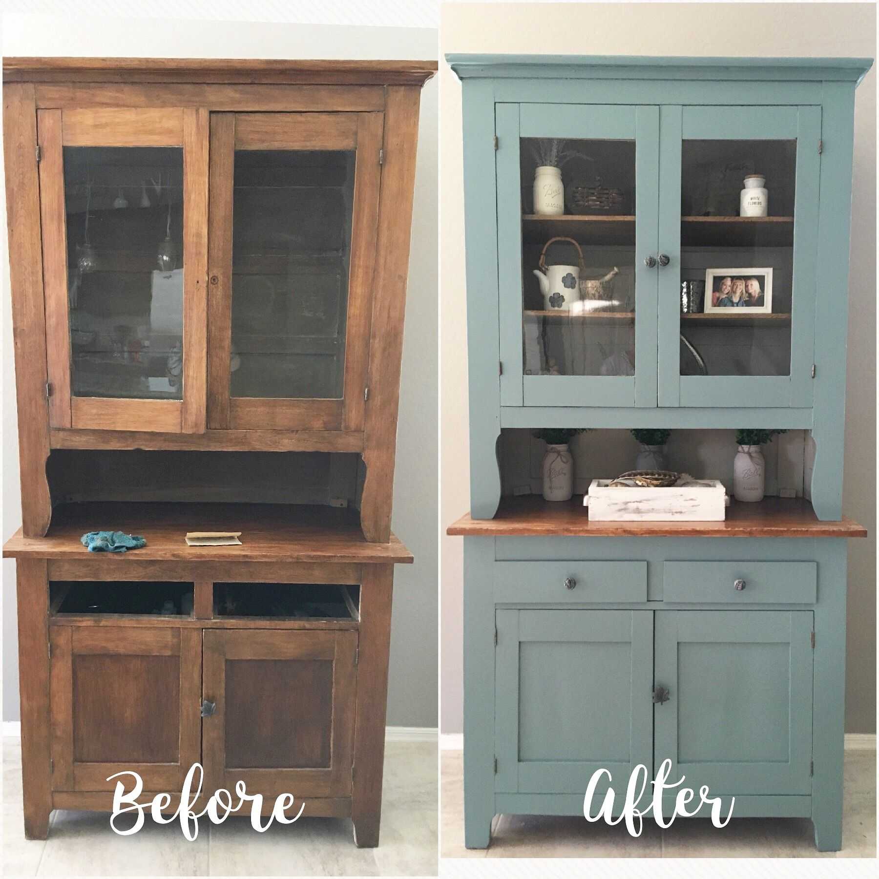 Farmhouse Hutch Makeover Behr Dragonfly Paint and Behr Perfect