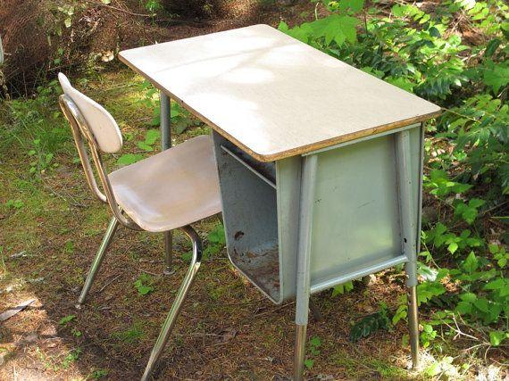 Old Metal School Desk Mid Century Teal Blue By Akaata