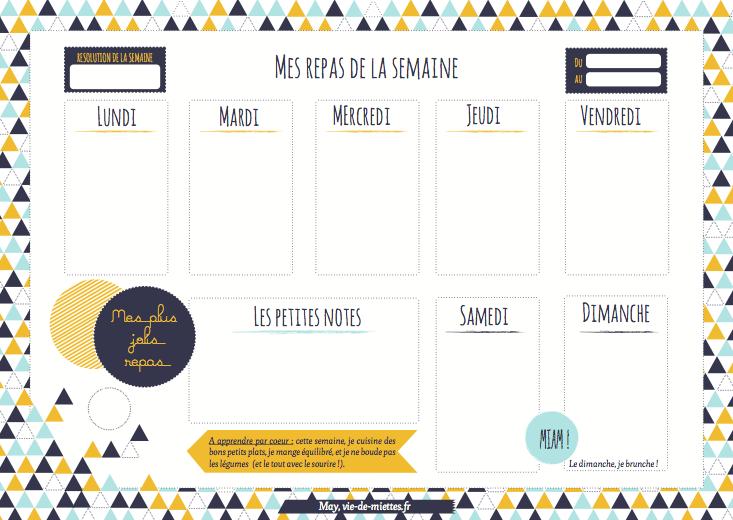 et hop un organisateur pour ses menus imprimer organisateur pinterest vie de miettes. Black Bedroom Furniture Sets. Home Design Ideas