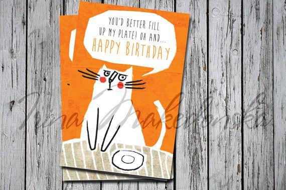 Happy Birthday Funny Grumpy Cat Birthday Card By Irinamakedonska