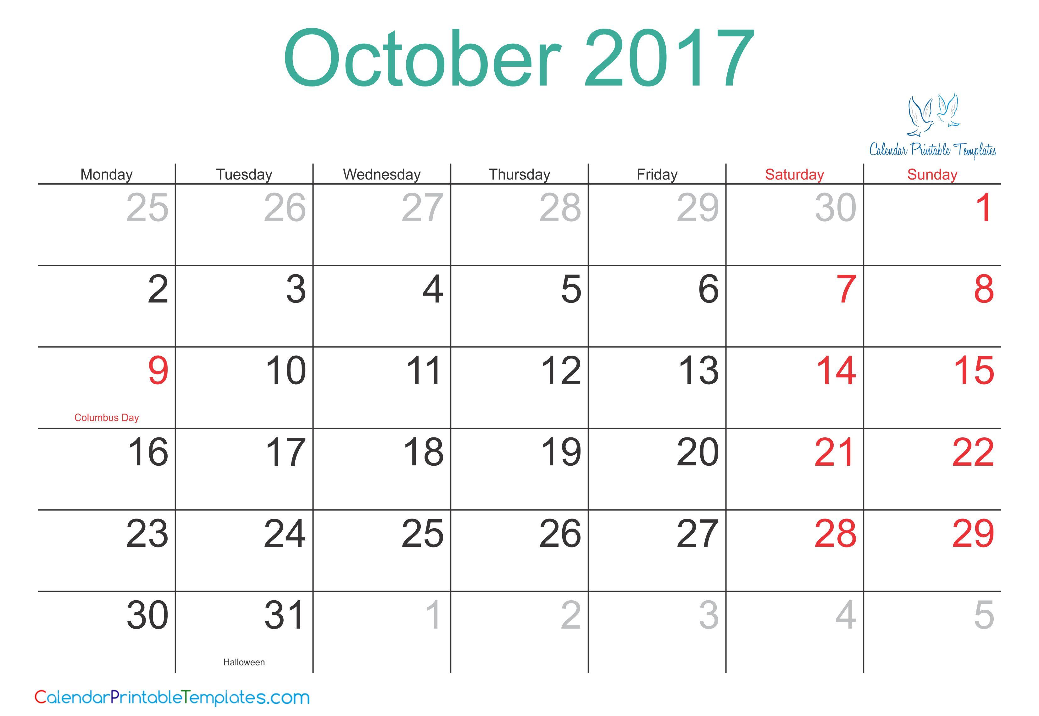 calendar 2017 template pdf