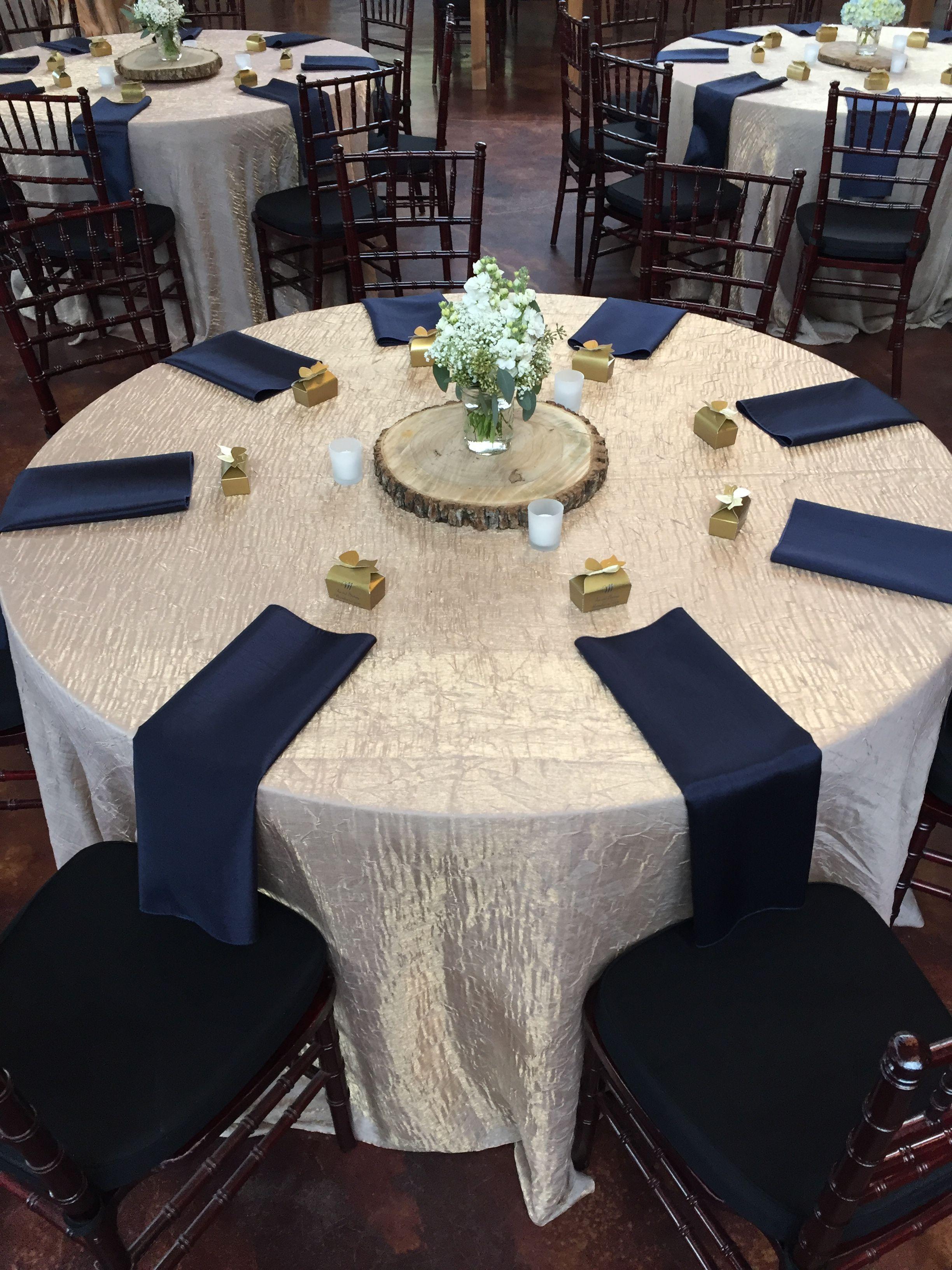 Champagne Crushed Iridescent Tablecloths Navy Blue Shantung Napkins Weddings Weddingreceptions Dallasweddings