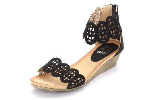 Alexis Leroy Women Hollowed-out Pattern Wedge Heel Sandals
