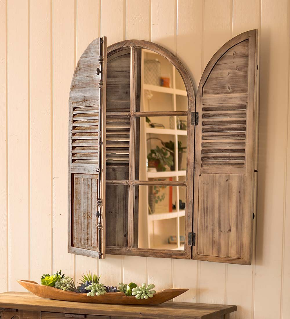Distressed Wood Frame Mirror With Shutter Doors Wall Art