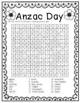 ANZAC DAY word search sleuth 18 KEYWORDS + ACRONYM sheet