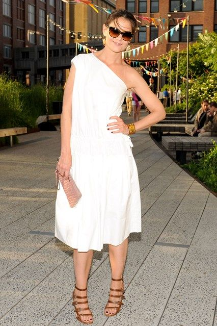 Coach's Summer Party, New York - June 11 2013  Katie Holmes in a Chloe dress and Azzedine Alaïa tan heels.