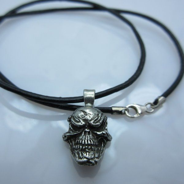 $18.50 Grins Skull Pendant in Pewter by Schmuckatelli Co.