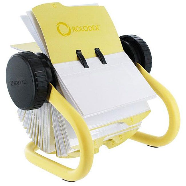 Rolodex open rotary 200 sleeve business card file planner and rolodex yellow open rotary business card file 2 5 8 x 4 reheart Image collections