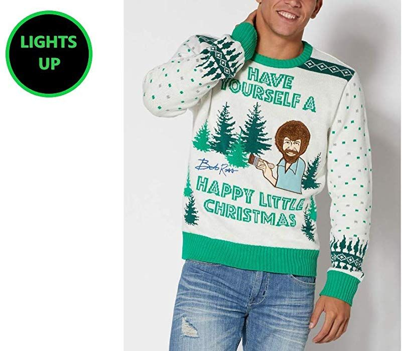 Bob Ross Painter Ugly Christmas Sweater That Lights Up This Is