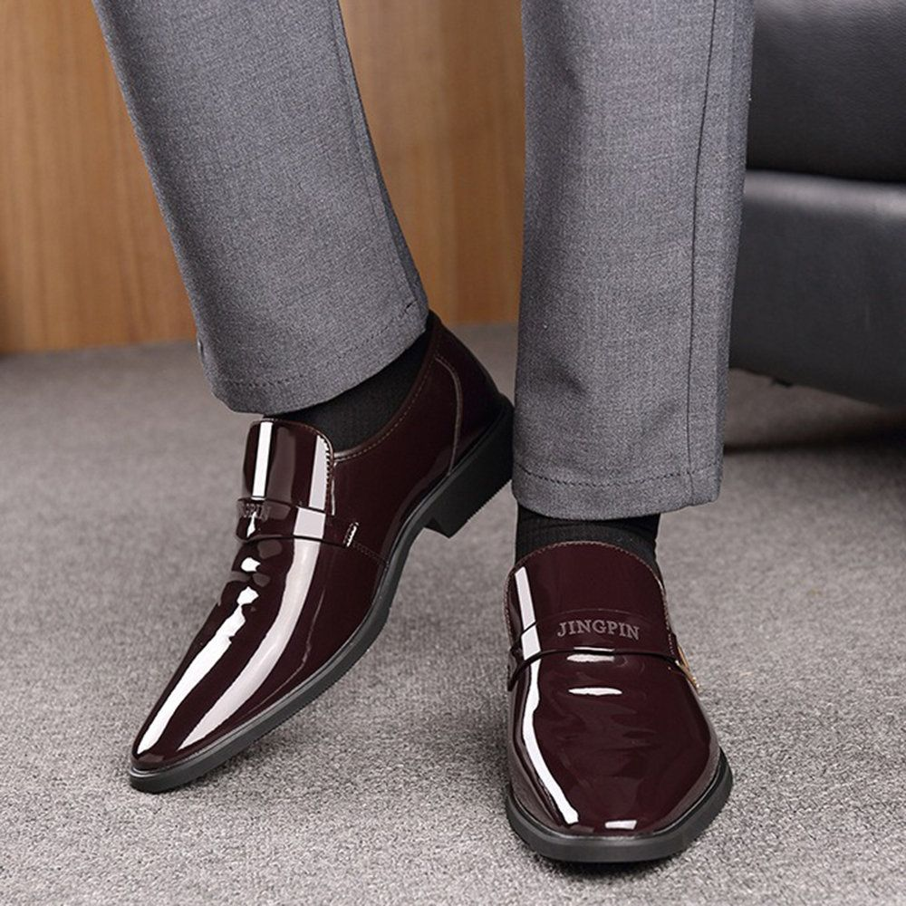 Mens Formal Dress Shoes Oxfords Loafer Slip On Pointed Toe Fashion Buckle Casual