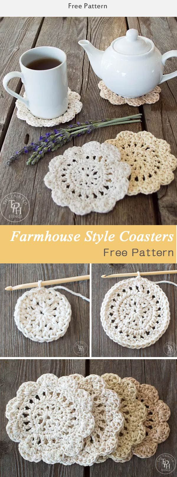 Farmhouse Style Coasters Crochet Free Pattern   grannys   Pinterest ...
