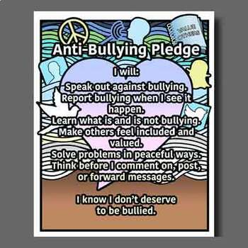 AntiBullying Pledge Poster and Coloring Page! in 2020