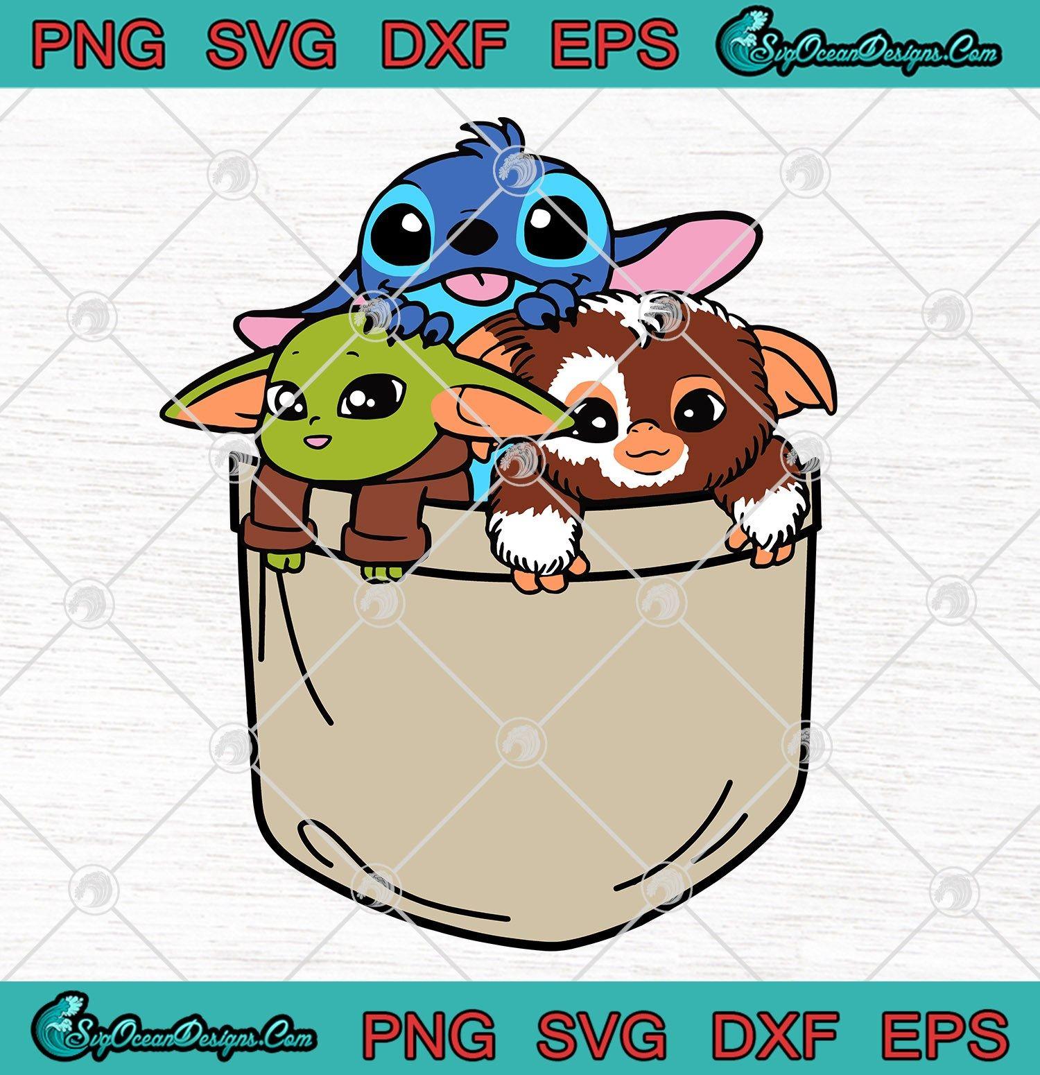 Baby Yoda Stitch Gizmo In A Pocket Art Svg Png Eps Dxf Baby Yoda Stitch Gizmo Cute Svg Png Cute Cartoon Wallpapers Yoda Drawing Yoda Art