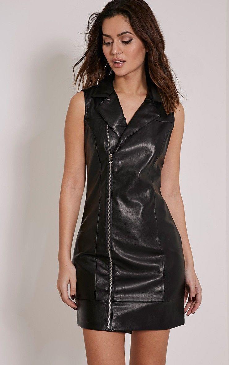 Chantal Black Faux Leather Blazer Dress   Costume   Blazer