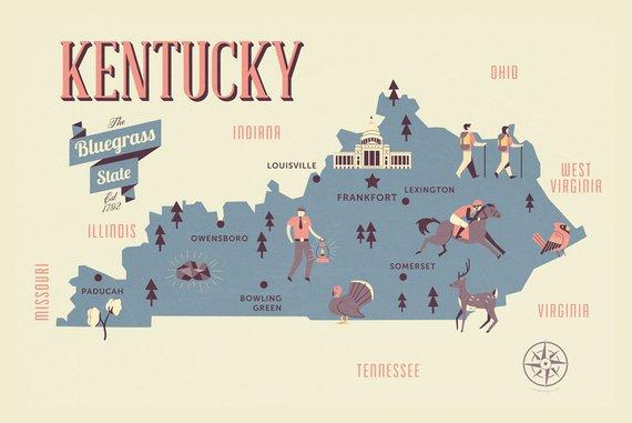 Kentucky Map, The Bluegrass state map, original map, nursery map ...