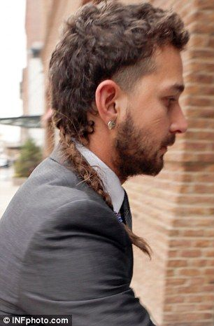 Shia Labeouf Puts On A Sharp Suit Keeps The Rat Tail And Eyebrow Ring Mohawk Hairstyles Men Mullet Hairstyle Rat Tail Haircut