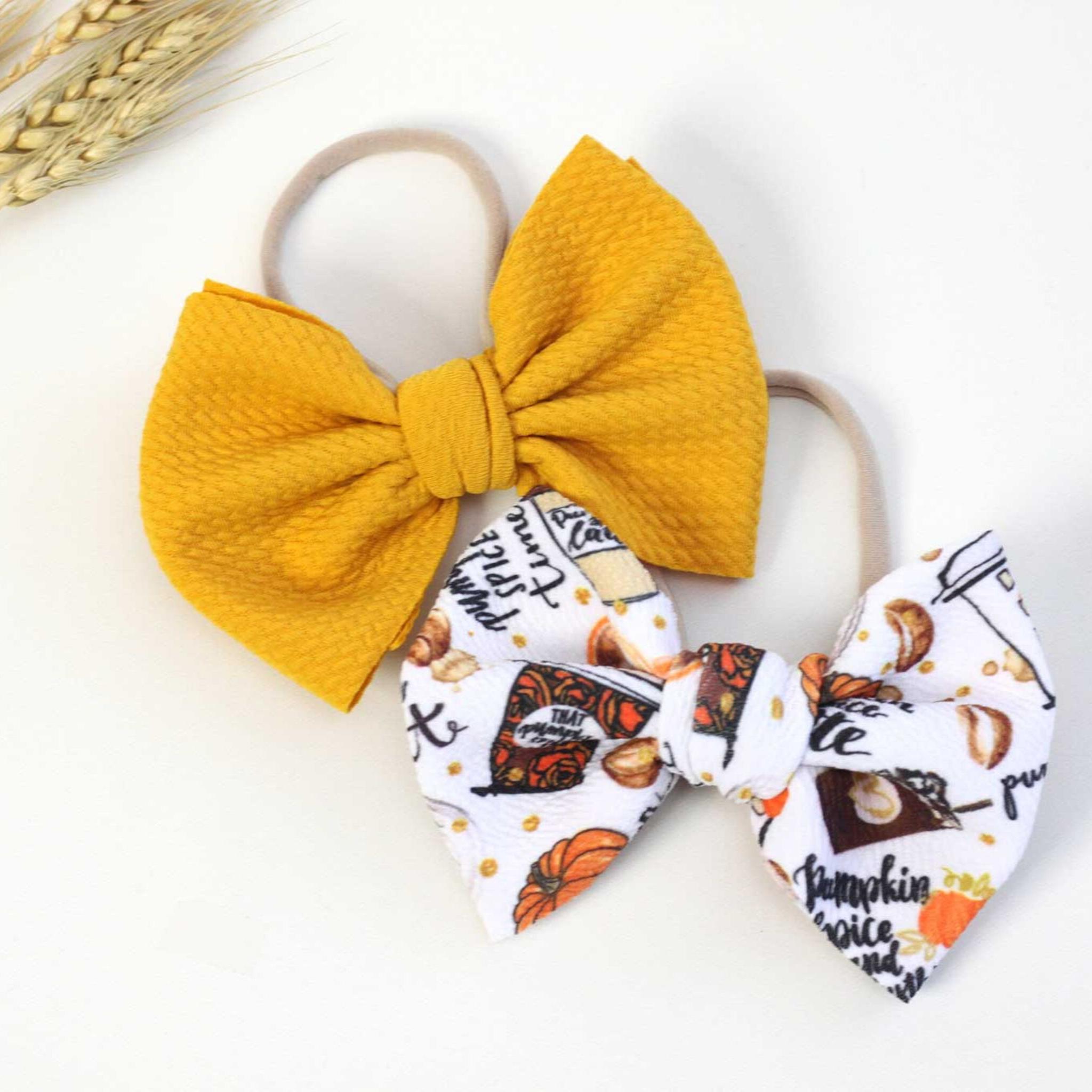 Pumpkin Spice Baby Nylon Headband or Clip