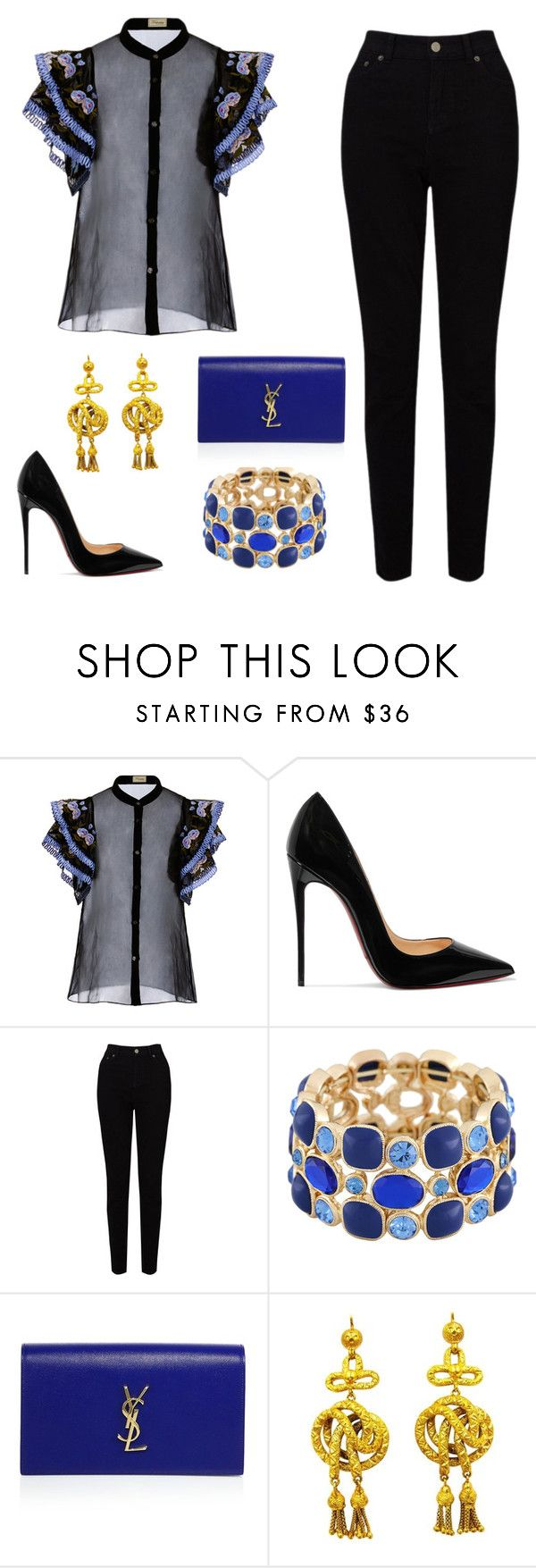 """""""Untitled #138"""" by twinstar2779 ❤ liked on Polyvore featuring Temperley London, Christian Louboutin, EAST, Monet and Yves Saint Laurent"""