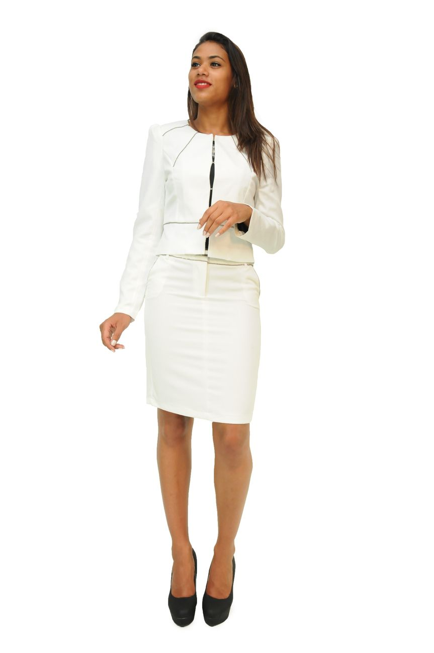 97b106a48e85b1 ensemble Tailleur femme pas cher jupe catherine blanche v77a/sk528 ...