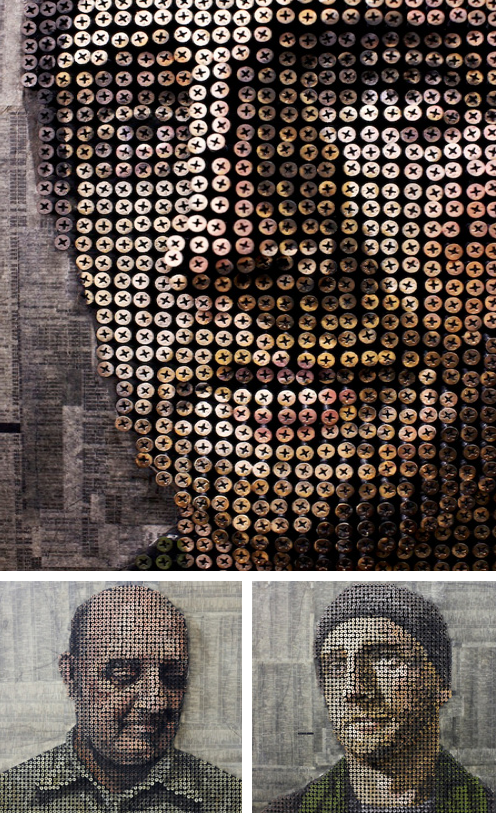 3D portraits made of screws    Andrew Myers