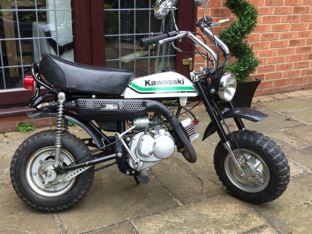 Here Is A Top Quality Set Of Petrol Tank Decals For The Kawasaki Kv75 Mini Bike Or Monkey Bike Finished In White 1980 81 All Of White Bike Kawasaki Mini Bike