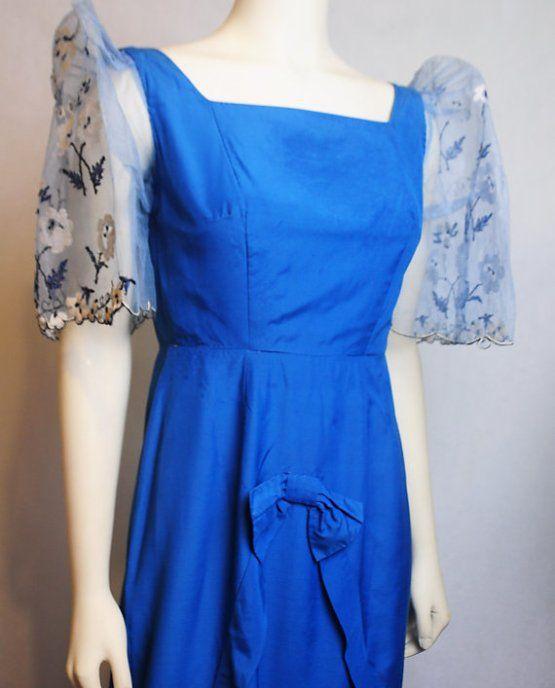 Filipino Filipiniana Blue Terno Dress | Pamana Collection | Pinterest