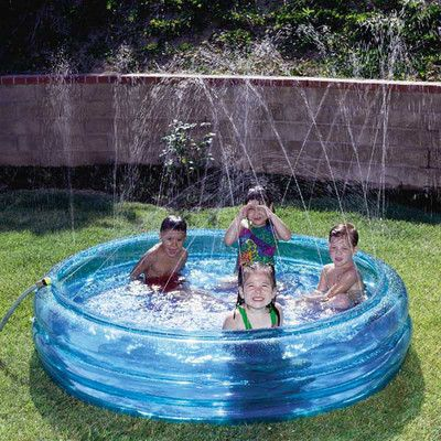 Kid 39 s blue inflatable fountain kiddie swimming pool the - Can babies swim in saltwater pools ...