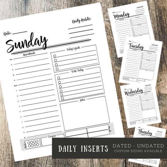 Daily Planner Insert Bundle Planner 2018 A5 Planner