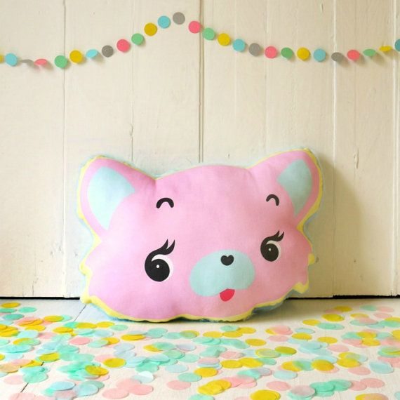 Kitsch Cat Pink Kitty Novelty Cushion Cute by YouMakeMeDesign