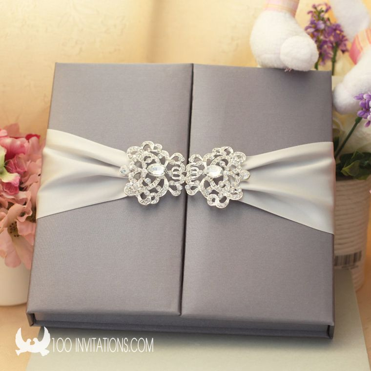 Handmade Silk Box Wedding Invitations With Large Rhinestone Buckle